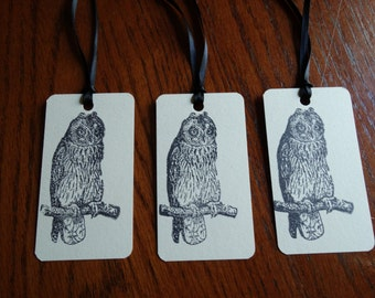SET of 3 Black & White Halloween Owl Hang Tags