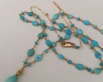 Long Sleeping Beauty Turquoise Necklace gold filled