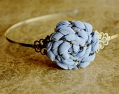 Periwinkle Cloud/ Women fashion accessory/ Headband with blue fabric flower/ Antique brass/Made to order