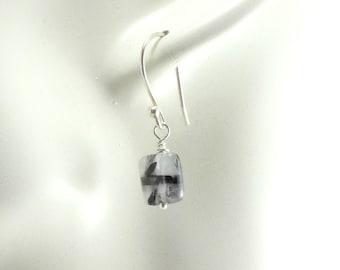 Tourmalinated Quartz,  Dangle Earrings