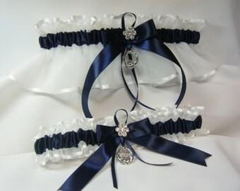 IRISH Wedding garters claddaugh Garter set Navy and White