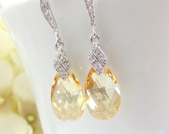 Crystal Earrings, Golden Crystal, Swarovski Golden Shadow, Bridal Earrings, CZ Sparkle, Bridesmaids Earrings,Champagne Crystal Drop Earrings