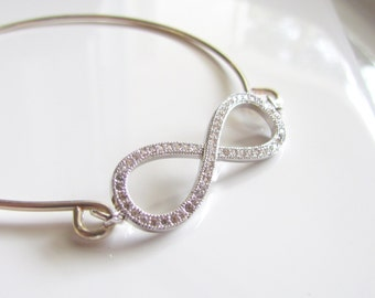 Cubic Zirconia Infinity Bracelet, Infinity Bangle, Bridesmaid Bracelet, Minimalist Bracelet, CZ Infinity Symbol, Silver Bangle