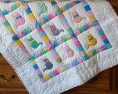 Colorful Bow Tie Cat Baby Quilt, Wall Hanging, Lap Quilt