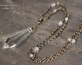 Pristine Shard Necklace - Large Glass Pendant with Quartz and Gray Labradorite Beading - 27 inch chain
