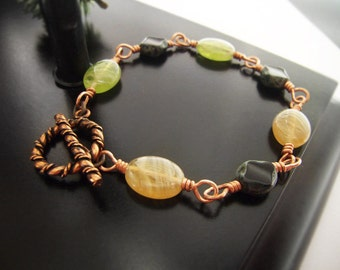 Copper Bracelet - Toggle Clasp - Metalwork Bracelet - Beaded Copper Bracelet #1-039