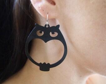 Choc Brown Owl Earrings - Wood Earrings - Wooden Earrings - Animal Earrings - Kawaii - Filigree Earrings - Cute Gifts - Owls - Little Hoots