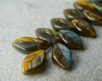 Bronzed Leaf Beads, Czech Glass Beads,  Marbled Grey, Mustard & Blue with Bronze Luster, 12X7mm (12pcs) NEW