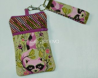 Olive Green & Purple / Pink Raccoon Phone Case with Zipper Closure and Wristlet  Natural Fox Option Orchid iPhone 4 5 6 Plus Note Samsung