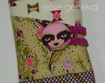 Olive and Pink or Teal and Aqua Wildlife Raccoon Pockets Set Spill Proof Circular / Interchangeable Knitting Needle Case Roll Organizer