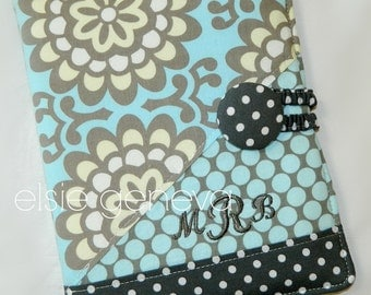 Personalized Grey Taupe and Slate or Aqua Blue Floral and Dots iPad Book Style Cover Case Optional Camera Lens Hole