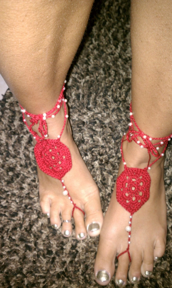 Items Similar To Red Barefoot Sandals, Wedding Crochet -4433