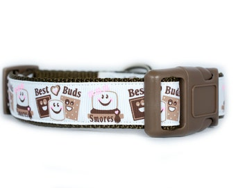 Best Buds Smores BFF Dog Collar - 1 inch wide - buckle or martingale - best friends dog collar - best buds collar - smores dog collar