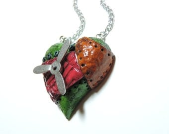 small Pop Color Steampunk Heart necklace with spinning action valentines day gift