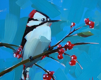 Downy Woodpecker Bird Art Print by Angela Moulton 8 x 8 inches prattcreekart