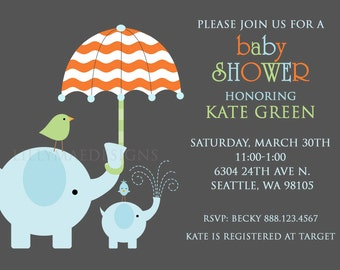 Elephant Baby Shower Invitation - Mod Ellies - Digital File