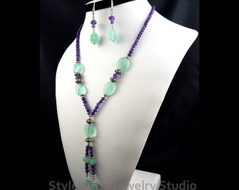 Fluorite, Amethyst, Y Tassel Necklace, Dangle Earring, 925 Sterling Silver, AAA Faceted Gemstone, Adjustable, Green and Purple, Set, Jewelry