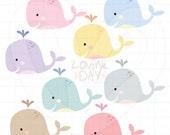 Whales Clip Art - Group Set - SKU : D13009