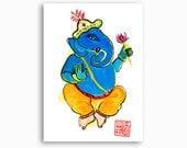 Ganesh Hindu Buddha Lord Ganesha Original Watercolor Indian Painting, yoga art decor, zen illustration, meditation art, spiritual art