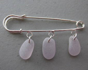 Sea Glass Kilt Pin - Seaglass Scarf Brooch - Silver Shawl Pin - Purple Amethyst Beach Glass Pin - Sweater Pin - Seaglass Jewelry