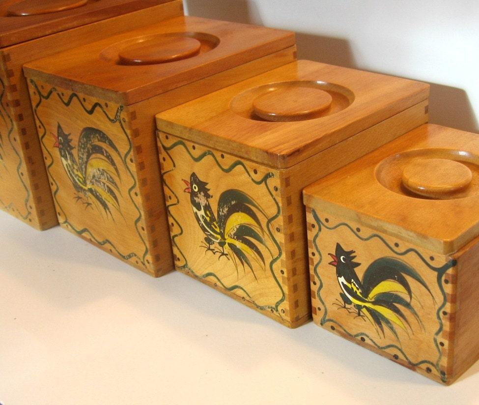 Wood Rooster Canister Set Vintage Wooden Canister Set Set Of
