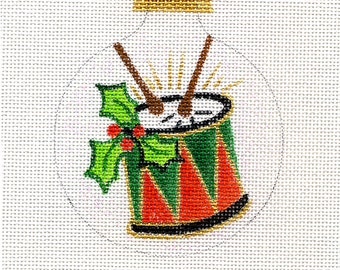 Drum Needlepoint Ornament - red and green - B114A - Jody Designs