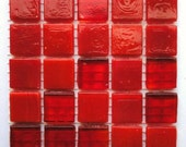 "25 1/2"" Red Opaque and Transparent Mix Glass Mosaic Tiles//Mosaic Supplies"