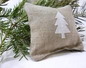 Balsam Fir Sachet in Linen with Mini Tree - Snow White Tree Applique - Maine Balsam Fir