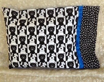 Black & White Puppies and Kitties Travel Pillowcase