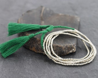 Simple Long Green Tassel Silver Necklace Wrap Bracelet