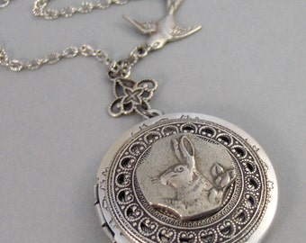 Little Rabbit,Rabbit Locket,Necklace,Bunny,Locket,Rabbit,Silver Locket, Locket, Antique,Woodland,Bunny,Easter, jewelry by valleygirldesigns