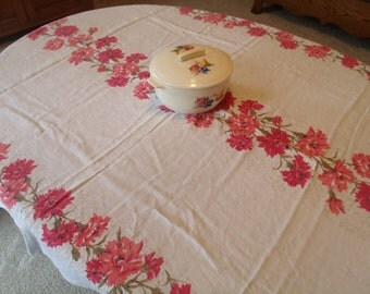 Mid Century Linen Tablecloth, Salmon Pink & Red Carnations, 64 x 48