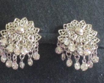 Vintage Clip Ons - Silver Toned Earrings - Filigree Clip ons - Dangling Rhinestones