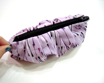 Purple Gathered Zippered Pouch