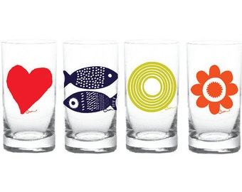 New Erin Flett Glassware: Set of 4 of Each Design Sun, Daisy, Tuna, Hearts, 16 total / Soy Inks / Silk Screened, MADE IN USA, Lead Free