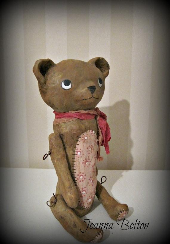 Teddy bear- OOAK art doll- papier mache- folk art-
