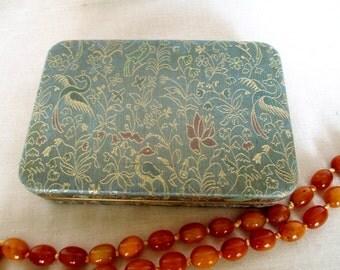 1950s Jewelry Box, Gold Thread Fabric Persian Motif Birds in Garden