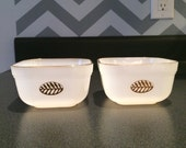 Fire King Ovenware Gold Leaf Refrigerator Dishes -set of TWO