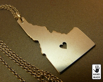 IDAHO State hand cut sterling silver  pendant , sterling silver chain, custom heart