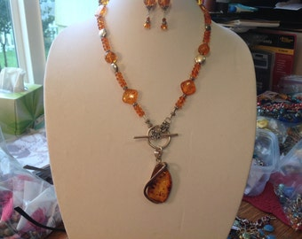 Amber Sterling Silver Long Toggle Lariat Necklace
