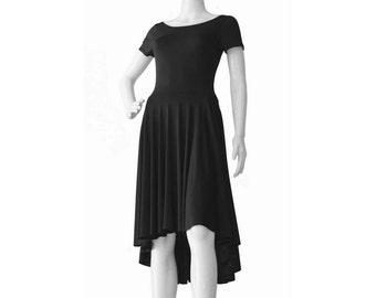 Plus Size Dress, Plus Size Clothing, Day Dress, Black Summer Dress, Full Skirt Dress, Custom Dress with Short Sleeves, Asymmetric Dress