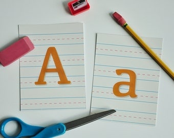 Print Your Own Back to School Alphabets-Notebook, Green and Black Chalkboard, Pencil, and Scratch Paper Alphabets! With Bonus Ruler Banner!