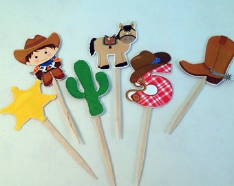 COWBOY Birthday Cupcake Toppers  - Set of 6