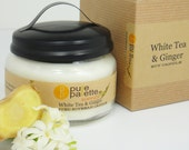 Soy Candles White Tea n Ginger Scent Vegan Aromatherapy Pure Natural Premium Fragrance Eco-Friendly in Modern Jar