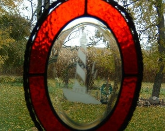 Stained Glass Oval Lighthouse Bevel Sun catcher