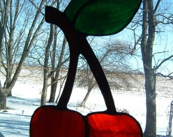 Cherry Stained Glass Suncatcher