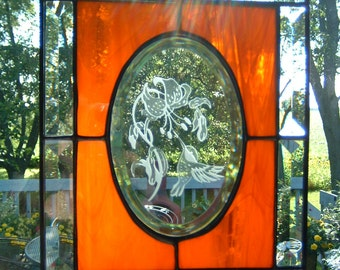 Stained Glass Hummingbird Panel Sun Catcher Bevel Window Panel