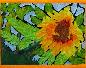Stained Glass Sunflower Quilted Fiber Art Wall Hanging