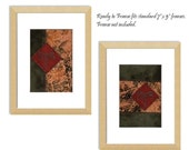 Pair of Dragonfly Autumn Leaves Mini Fabric Collages Embroidered Crazy Quilt Style