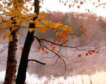 Autumn Landscape Photograph morning mist orange fall foliage indian summer water early morning crisp air 8x12
